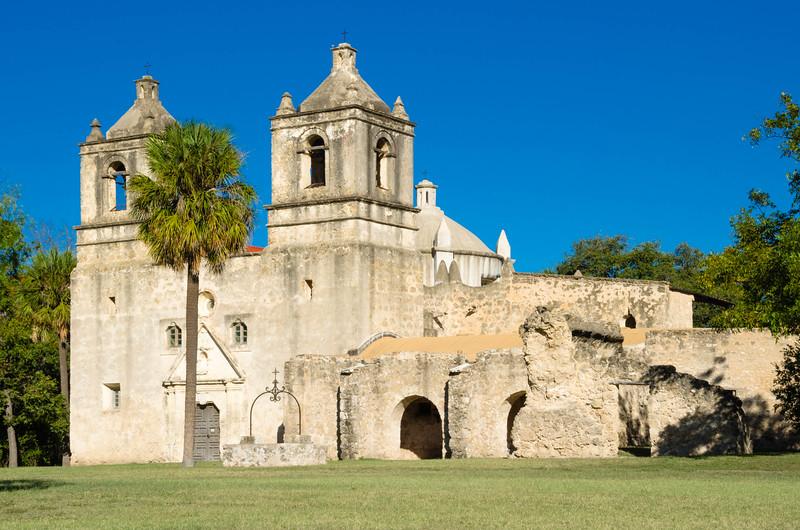 Long distance shot across the grounds at Mission Concepcion, San Antonio Missions National Historical Park, San Antonio, Texas
