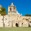 Long distance shot across the grounds at Mission Concepcion, San Antonio Missions National Historical Park, San Antonio, Texas