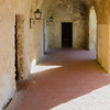Looking down a hallway in the afternoon light at the Mission Concepcion, San Antonio Missions National Historical Park, San Antonio, Texas.