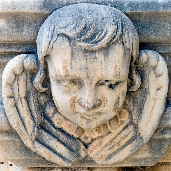 "One of many ""cherubs"" at Mission San Jose<br /> San Antonio Missions National Park<br /> San Antonio, Texas"