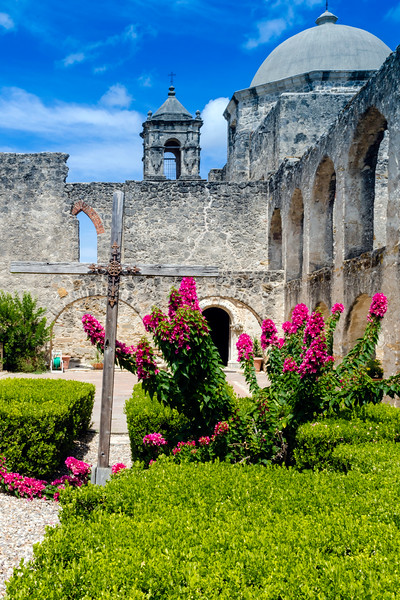 View from the courtyard at Mission San Jose in San Antonio, Texas