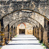 Inside the courtyard at Mission San Jose in San Antonio, Texas
