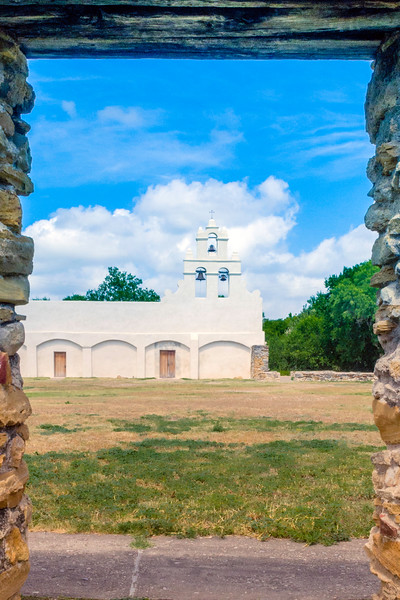 Looking across the courtyard at Mission San Juan in San Antonio, Texas