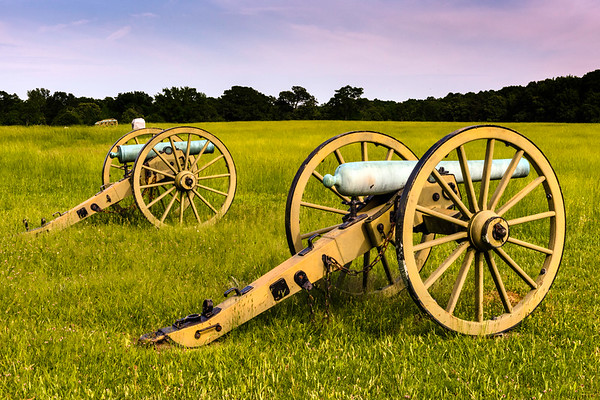 Shiloh National Battlefield  Parrot Guns of Ross' battery on the field at the Peach Orchard