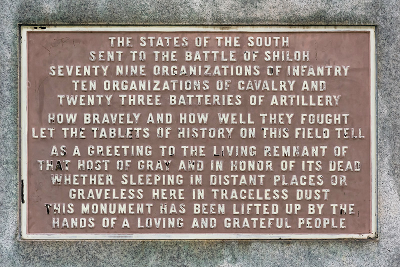 A short history of the participation of the Southern states in the battle of Shiloh.  Shiloh National Battlefield