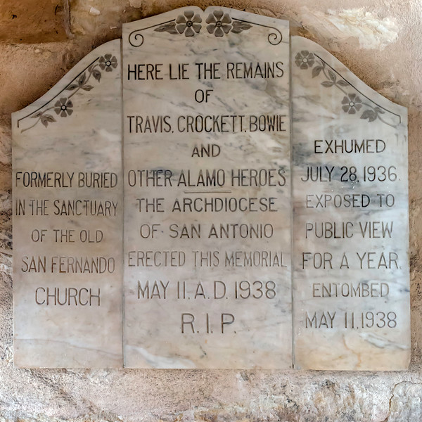 The final resting place for Bowie, Crockett, and Travis; heroes of the Alamo as seen on the wall inside the church.