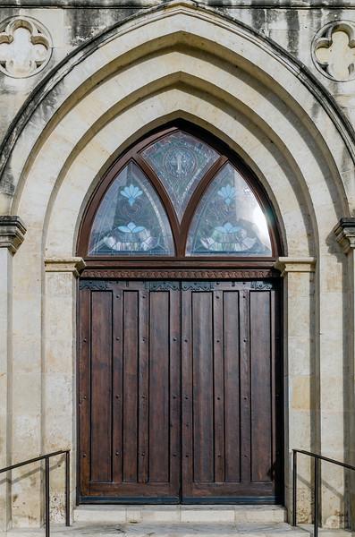 The gorgeous entrance to the church near the Alamo in San Antonio, Texas