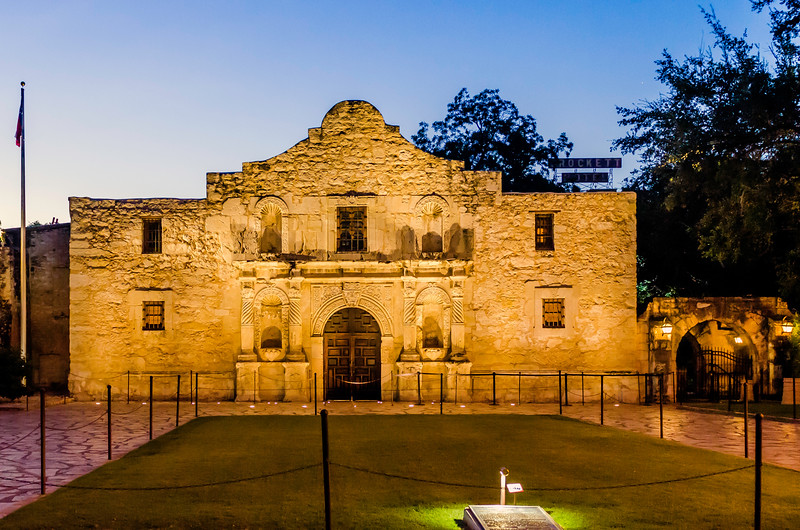 "Alamo Mission in the ""blue light"" of early dawn."