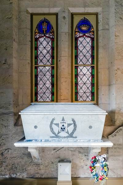 Burial vault containing the remains of the heroes of the Alamo: Davy, Crockett, William B. Travis, and Jim Bowie<br /> <br /> San Fernando Cathedral, San Antonio, Texas