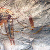 4,000 year Shaman figures on the wall of the Fate Bell Shelter in the Seminole Canyon State Park near Comstock, Texas.