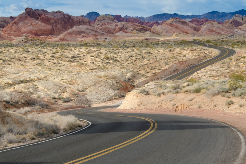 One of many long and winding roads that offer many interesting perspectives for photographers at the Valley of Fire State Park, Nevada.