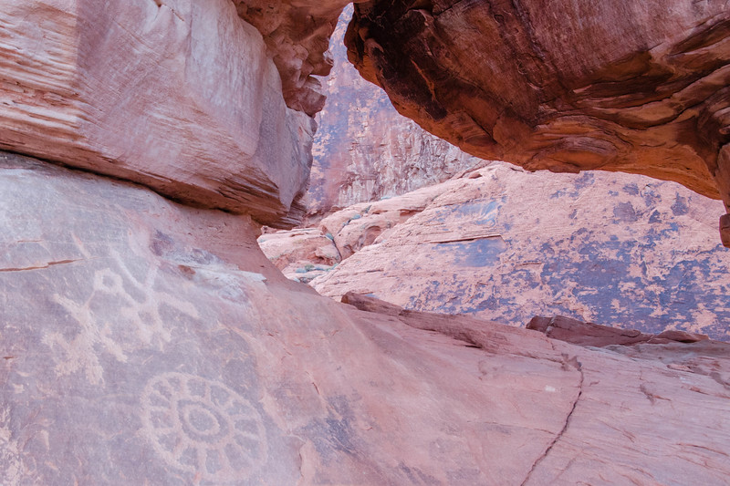 Another take on more additional petroglyphs at the Valley of Fire State Park, Nevada.<br /> <br /> Note the ancient rock art in the foreground.