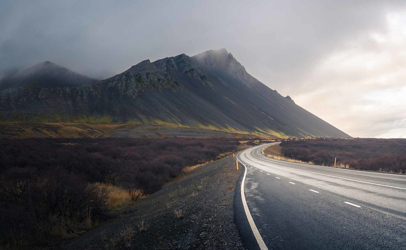 Road and mountains in Iceland