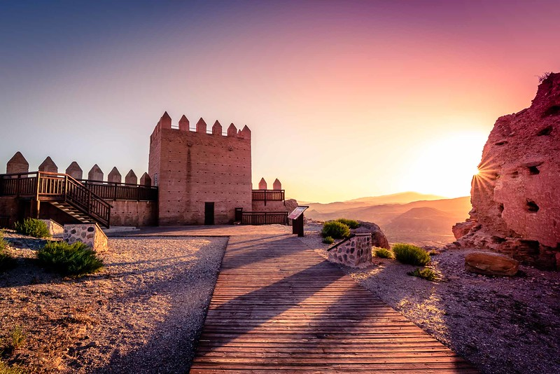 Sunset after the Castle of Tabernas in Almería (Spain)