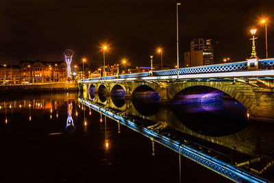 Belfasts Queens Bridge At Night