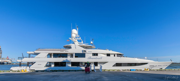 The Boardwalk is Tillman Fertitta's personal yacht.  He is the owner of a hotel and restaurant conglomerate, as well as the Houston Rockets.  It was docked at the wharf near 23rd Street in Galveston!