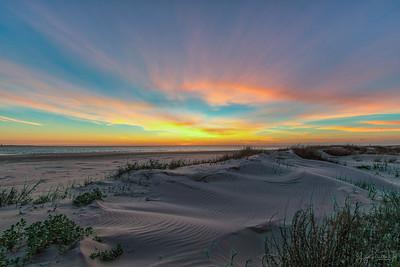 Dawn breaking at the beach