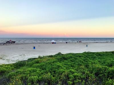 Galveston Beach Along Sea Wall