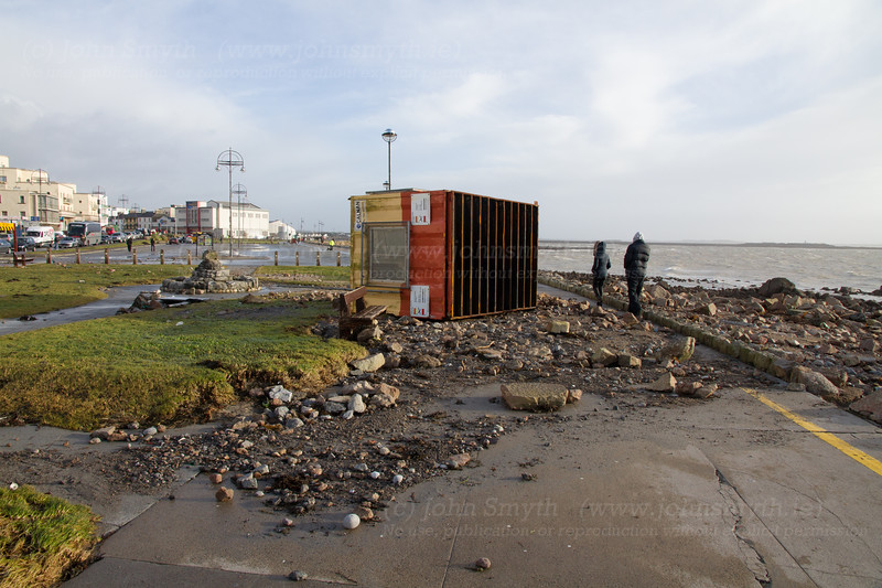 The lifeguard hut on Salthill Promenade (in front of the former Waterfront Hotel) on its side and in the wrong place after the storm
