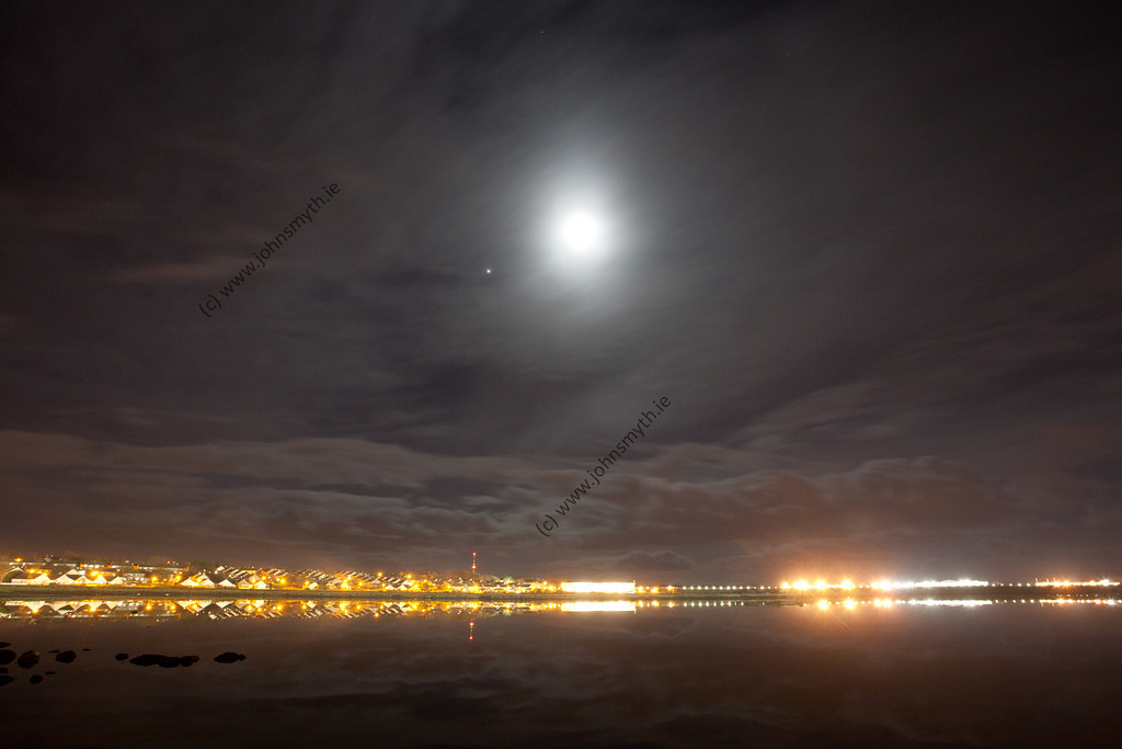 The Moon and Jupiter light up the sky over Lough Atalia in Galway.