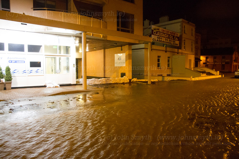 A view of the former Waterfront Hotel in Salthill (which is now used as rental apartments, I think). The underground carpark flooded during the January 2014 storm, but the sandbags looked to be protecting it this time.