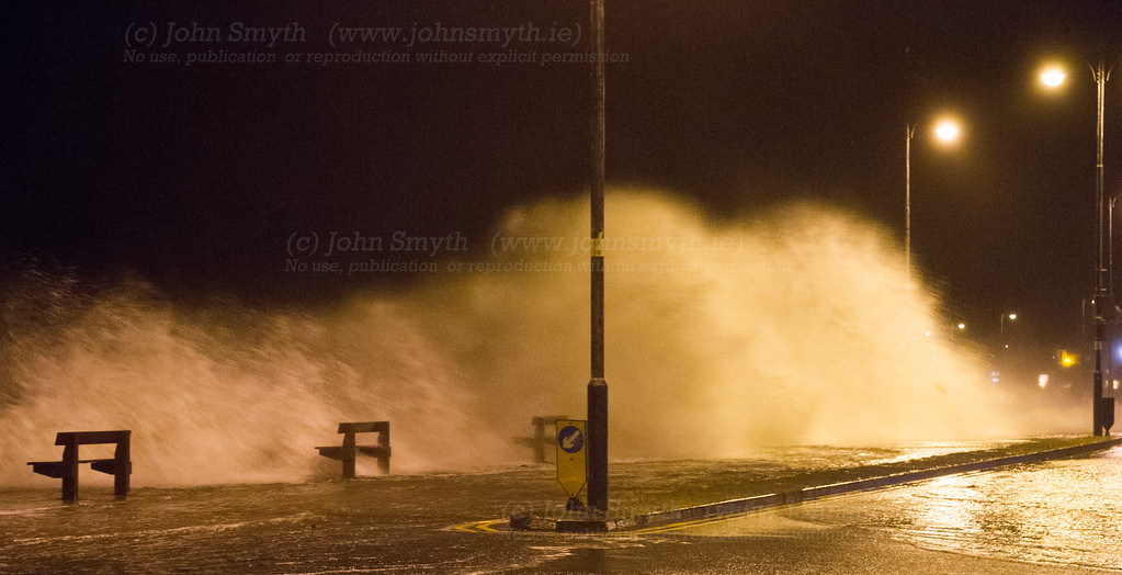 Waves washing over Salthill Promenade