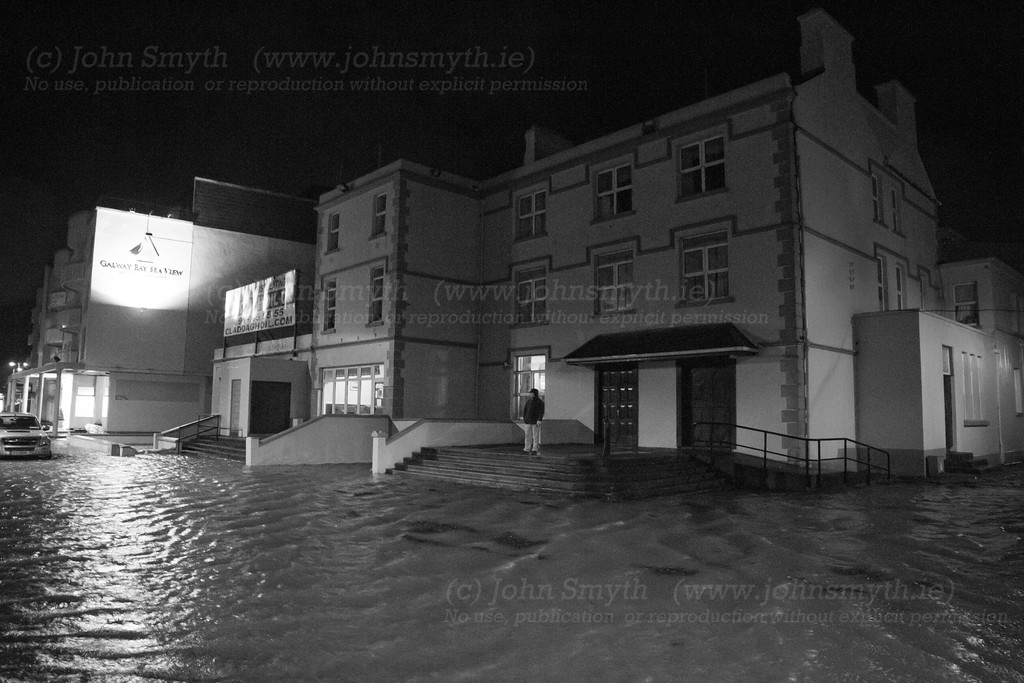 The former Eglington hotel (which now serves as a hostel) surrounded by floodwater