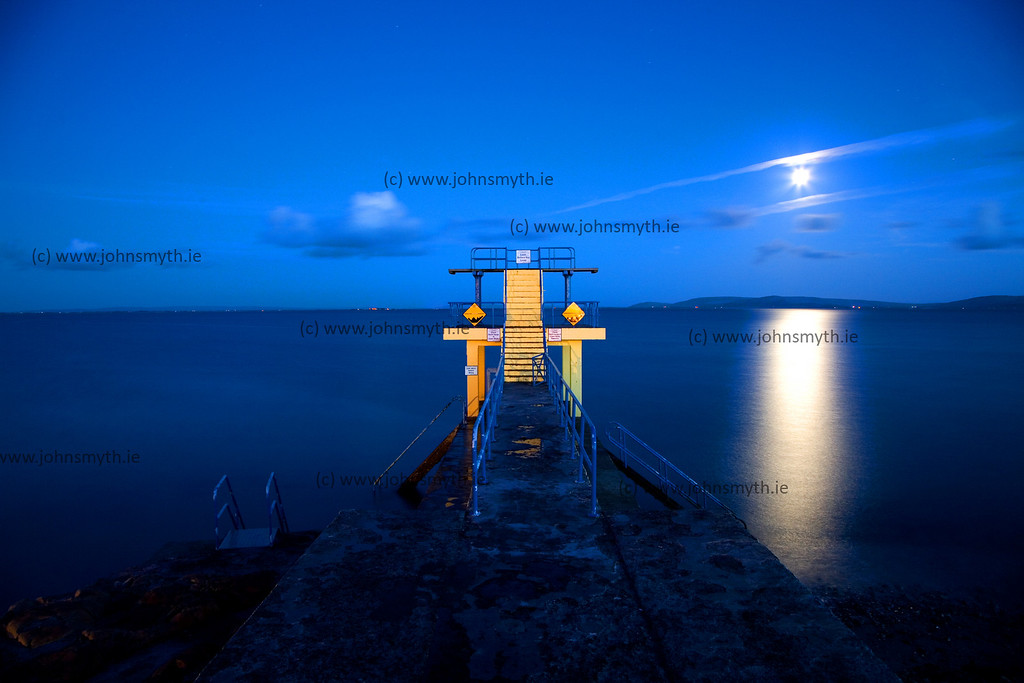 Full moon over Galway Bay, by the Blackrock diving board at Salthill, Galway.