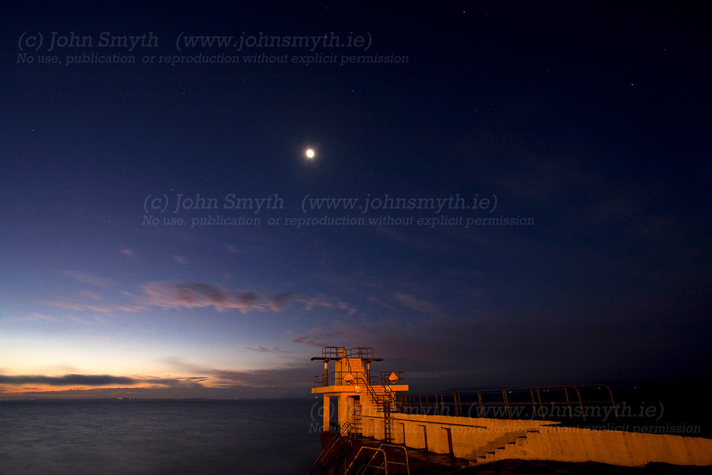 The moon and stars shining over Galway Bay before dawn. Picture taken in November 2009.<br /> This picture is formatted to print as either 4X6 or 8X12 (other options will need cropping).
