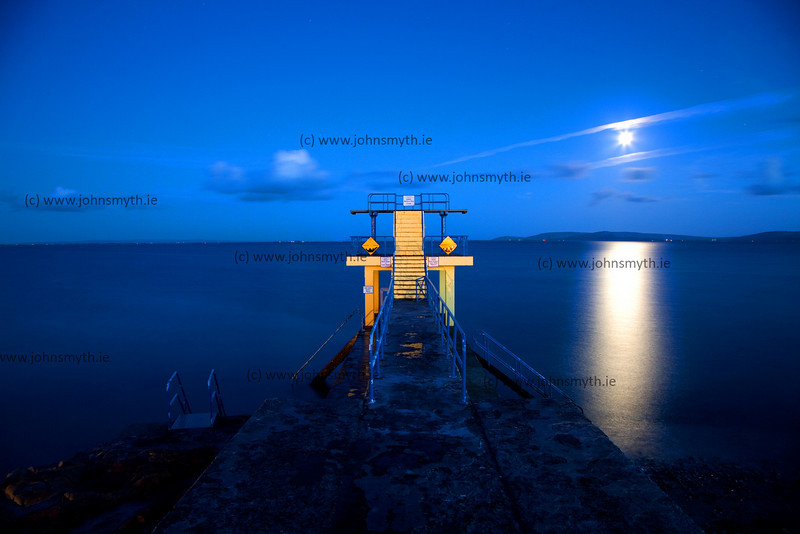 Moonrise at Blackrock Diving Board, Salthill, Galway City, Ireland