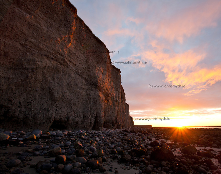Sunrise at the cliff at Silver Strand in Galway