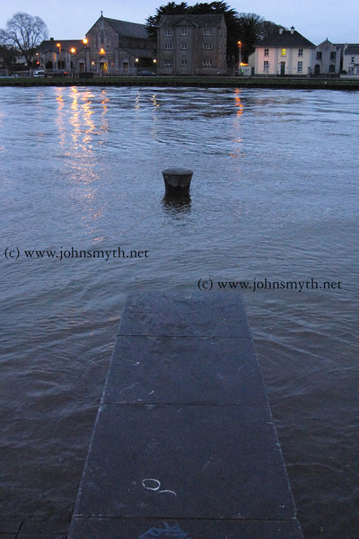 Looking across the flooding at the Spanish Arch towards the Claddagh and the Canal Basin.