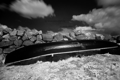 Upturned currach at Barna Pier, just west of Galway city.
