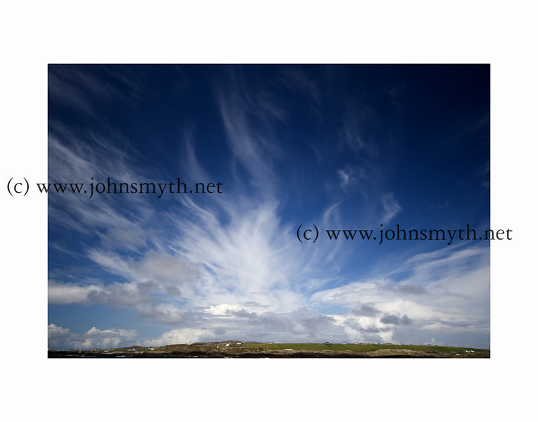 Big sky over the Cromwellian fort which overlooks the harbour at Inishbofin Island, off the west coast of Ireland.