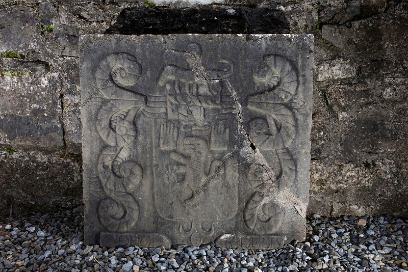 A headstone in Kilconnell Friary in Galway, Ireland.