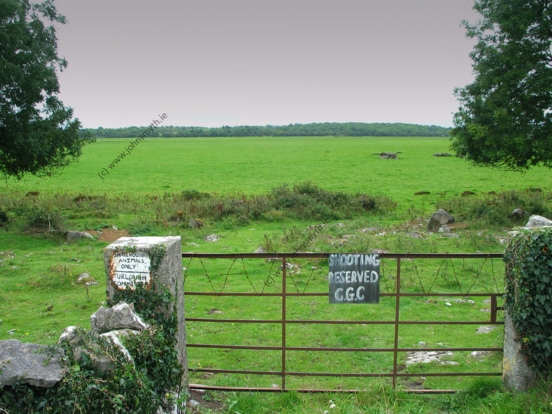 The turlough at Rahasane in Galway in early September 2004 - completely empty. In winter (as can be seen in the other pcitures), the rain fills the lake right to the gate.