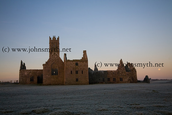 Ross Errily friary, near Headford, Co. Galway, at sunrise (and moon set)