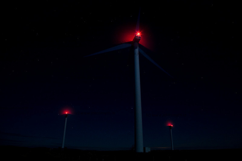 Long exposure image of the wind turbines on the hills between Spiddal and Indreabhan, overlooking Galway Bay, Ireland.