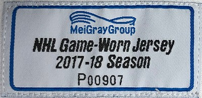 Korpisalo 2017-2018 Game Worn Jersey MeiGray Tag