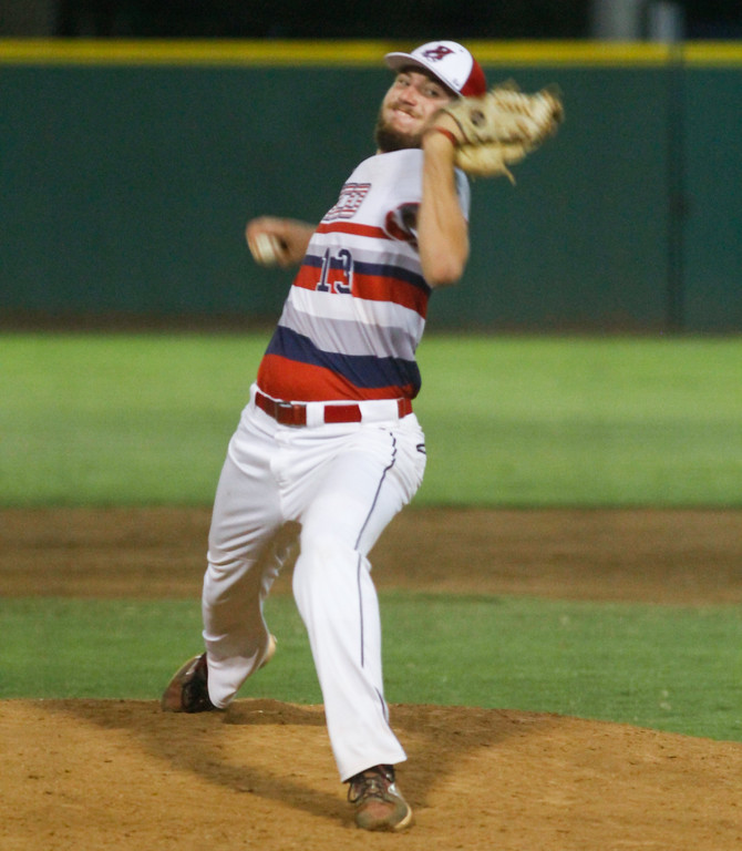 . Chico Heat\'s Mikey Wright pitches against the Lincoln Potters in a playoff game Wednesday August 9, 2017 at Nettleton Stadium in Chico, California. (Emily Bertolino -- Enterprise- Record)