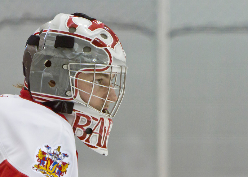 CALGARY(AB) February 24, 2012 - Trojans goalie #30 Adam Barko during 1st period action.