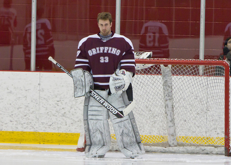 CALGARY(AB) February 24, 2012 - Griffins goalie #33 Travis Rolheiser during the national anthem.