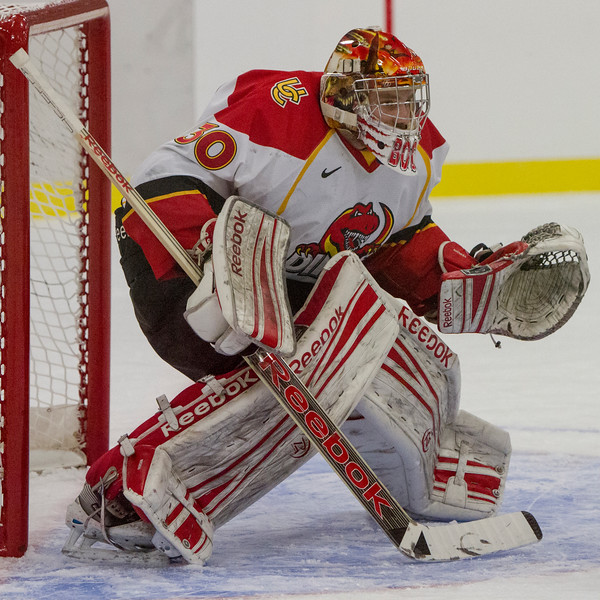 CALGARY(AB) October 30, 2015 - Dino's goalie #30 Hovdebo during the Dino's vs Bison's game at the Father David Bauer Olympic Arena.