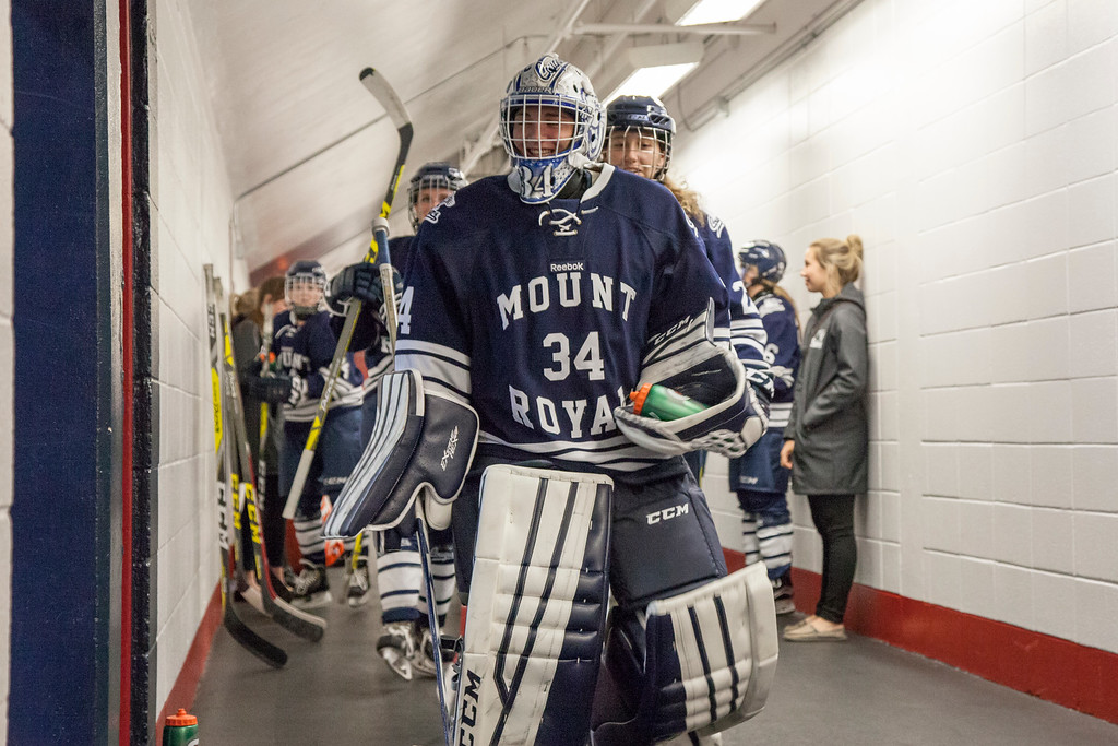 CALGARY(AB) September 10, 2016 - The Mount Royal University Cougars take to the ice prior to the start of period two.