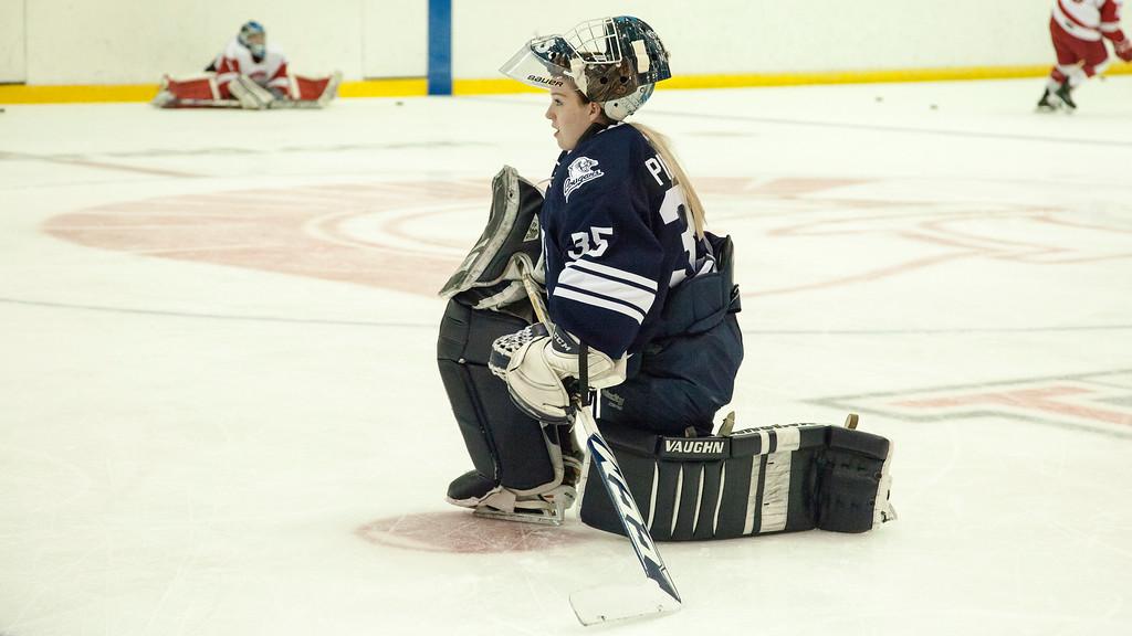 CALGARY(AB) September 10, 2016 - Mount Royal University Cougars goaltender (#35) Emma Pincott during pre-game warmups.