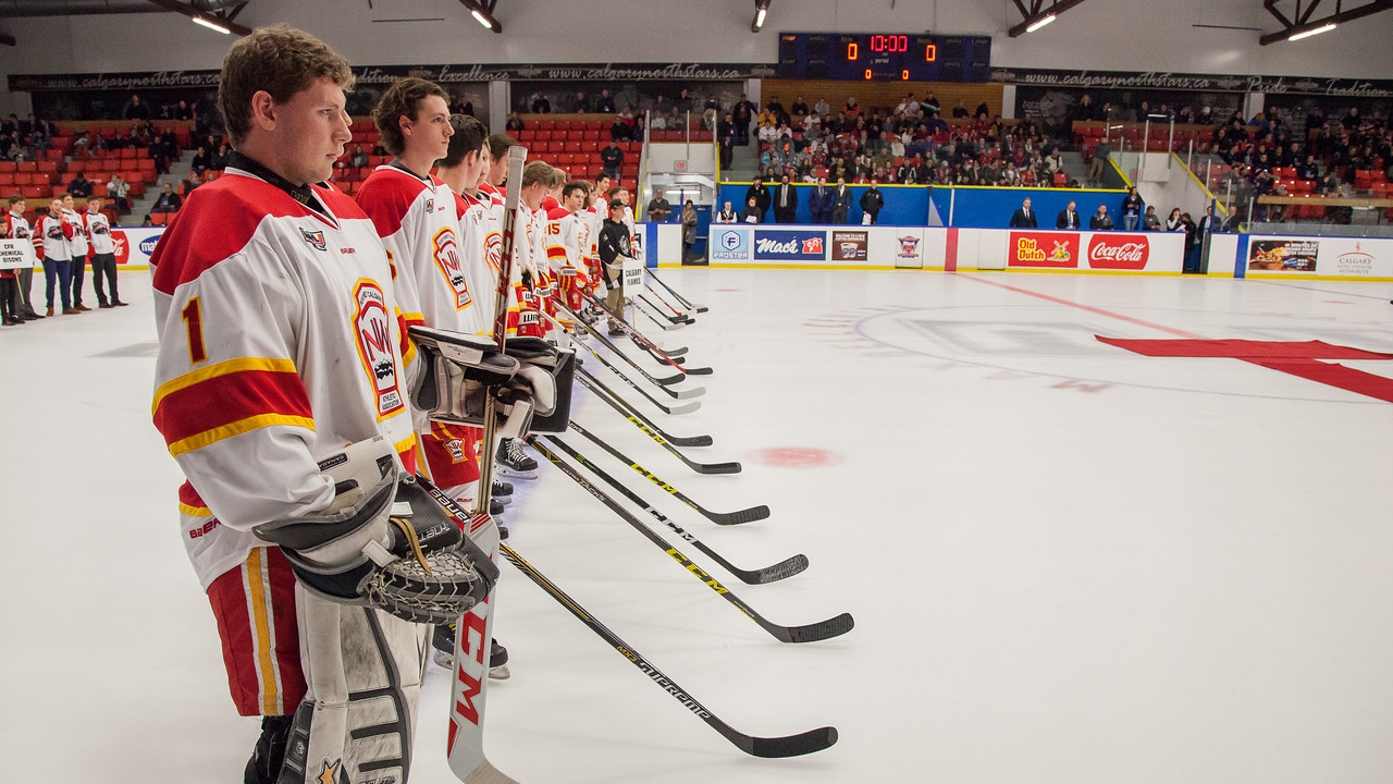"""Game #10 (male) NW Midget AAA (Calgary) Flames vs. Hungarian National U18 hockey team. Hungary won this game defeating the defending 2015-2016 Macs Tournament Champions by a final score of 8-5. Both teams had 37 shots on goal. December 26, 2016.  <a href=""""http://www.laine.ca"""">http://www.laine.ca</a>"""