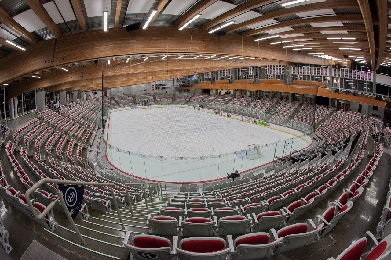 "CALGARY(AB) October 16, 2015 - Arena ""A"" within the Markin MacPhail Centre at Winsport Canada (Calgary). With a seating capacity of 3000, the ice surface can also convert between North American and International rink sizes."
