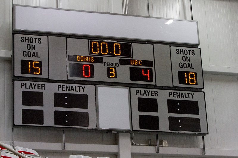 CALGARY(AB) October 16, 2015 - WIth a third period empty net goal, the UBC Thunderbird's defeated Calgary 4-0 in the first game of a two game series being held in Calgary.