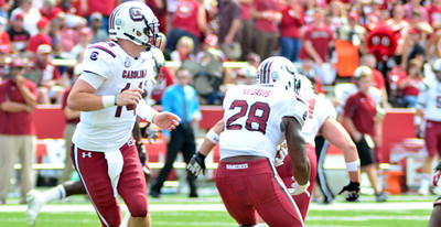 Connor Shaw, Mike Davis October 12, 2013 South Carolina Gamecocks 52, Arkansas Razorbacks 7 at Reynolds Razorback Stadium in Fayetteville, Ark.