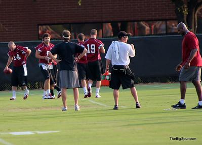 Coach mangus overlooks QB's, 14 Shaw, 5 Garcia, 19 Tanner McEvoy